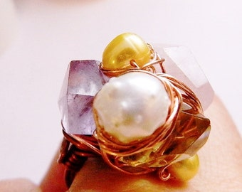 Healing Cocktail ring huge chunky Citrine Rose Quartz Ameythyst real fresh water pearl white yellow and cream wirewrapped copper wire