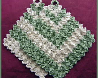 2 Crocheted Mini Pot Holders, Trivets or Coasters