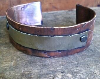 Men's Copper Cuff Bracelet - Rustic Rugged Masculine Jewelry
