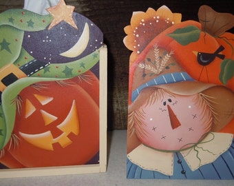 Fall tissue box holder with pumpkin and scarecrow
