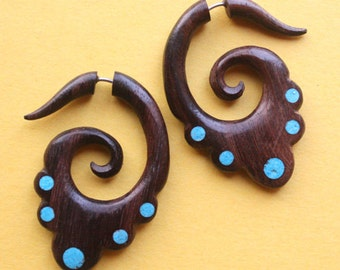 Hand Carved Fake Gauge Earrings - DERANI - Natural Brown Sono Wood with Turquoise Detail