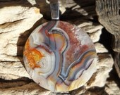 Laguna Crazy Lace Agate Cabochon Pendant with Sterling Silver Bail.......Brilliant Shine.......