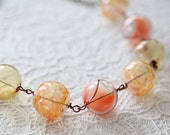 OOAK Glass Statement Necklace Peachy Bubbles