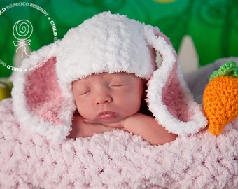 Bunny Rabbit Hat and Diaper Cover Set with Amigurumi Carrot Newborn Photo Prop Pink Baby Girl Easter Photos