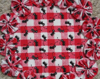 Red White Checked Ant Picnic yo yo doily-penny rug style candle mat, home decor gift