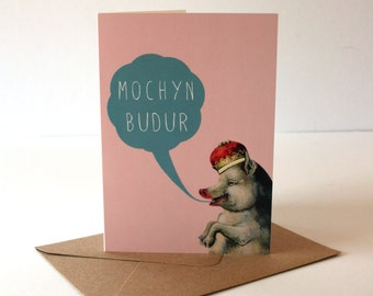 SALE - SEL - Welsh Tongue in Cheek Mochyn Budur Dirty Pig Eco Friendly Art Greeting Card