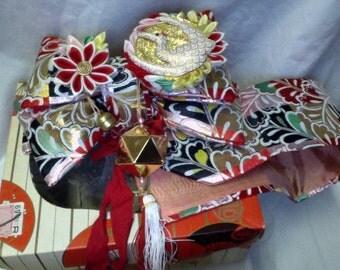 Vintage Oriental Geisha Belt w Dragon, Socks, Sandals, etc