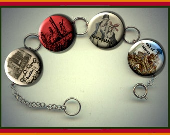 French Revolution cult of reason incroyables Charm Bracelet with Rhinestones Altered Art Jewelry
