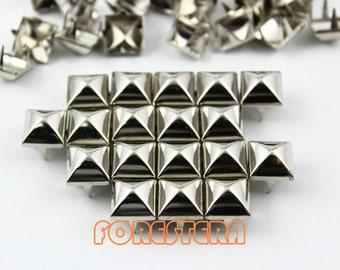 200Pcs 10mm Silver Dome Pyramid Studs Metal Studs (SMP10)