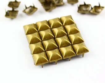 200Pcs 8mm  Antique Brass Dome Pyramid Studs Metal Studs (BMP08)