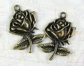 15Pcs Antique Brass Rose Charm Rose Pendant 25x17mm (PND249)