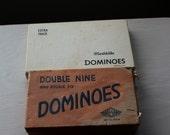 Vintage Lot of 2 complete domino sets in original boxes: Halsam ( black) & marblelike (white)