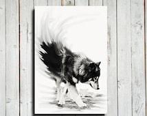 "Wolf - Black and White wolf decor - 16x24"" canvas - Wolf art - Wolf dog - Dog - Wolf decor - Wolf photography"