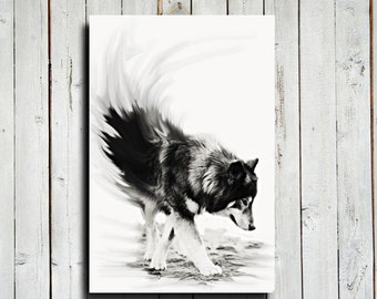 "Wolf - Black and White wolf decor - 16x24"" canvas - Wolf art - Wolf dog - Dog - Wolf decor - Wolf photography"
