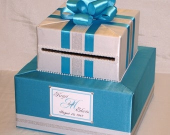 Turquoise-White-Silver Wedding Card Box-any color combination