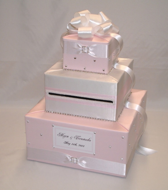 Pale Pink Light Pink And White Wedding Card Box Any Color