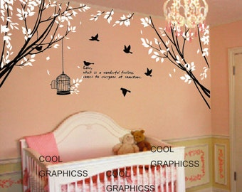 vinyl wall decals trees wall sticker baby nursery children wall decor home decor wall hanging  - Two Branch Corner with Flying Birds