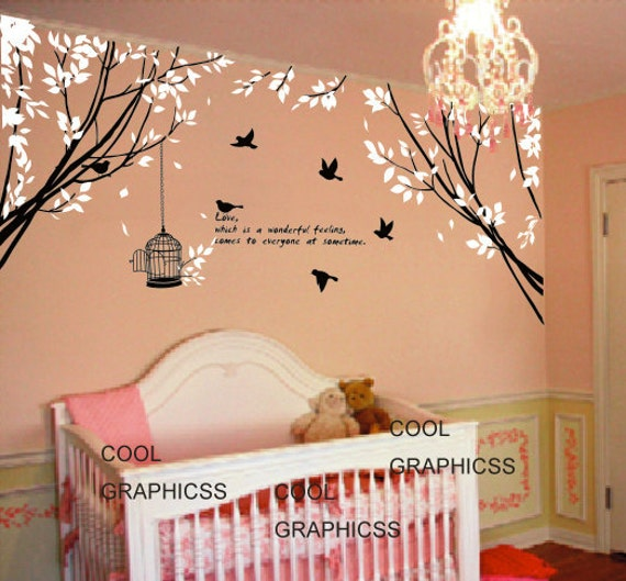 Vinyl wall decals trees wall sticker baby nursery children for Decoration quotes