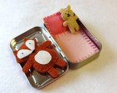 Fox in a Box with pink and red bedding - wool felt fox and teddy bear in Altoids Tin - made to order - EarthyMamaGoods