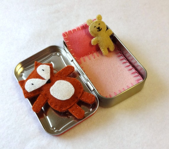 custom Fox in a Box - wool felt fox and teddy bear in Altoids Tin - made to order