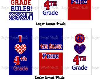 INSTANT DOWNLOAD 4th Grade Rules Digital Rectangle Domino Size Images 4x6 sheet