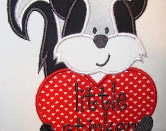 Little Stinker Valentines Skunk  Iron on  applique Boy or girl