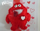 Feltie Pins, Pudgy Red LOVE Monster, Chubby monster, Feltie brooch, handmade brooch, handstitched felt, free greeting card