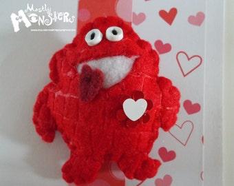 Feltie Pins, Pudgy Red LOVE Monster, Chubby monster, Feltie brooch, handmade brooch, handstitched felt, free greeting card