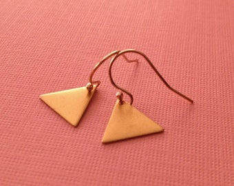 Triangle Earrings in Gold -Tiny Geometric Earrings - Gold Triangle Earrings