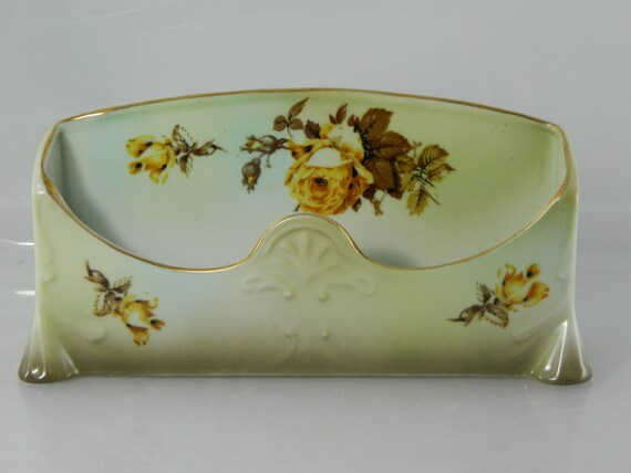Vintage Porcelain Caddy Eyeglass Holder Porcelain with Yellow Roses