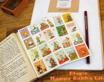 Paper Deco Sticker Set - Alice Stamp Stickers - 2 Sheets