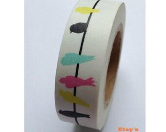 Japanese Washi Masking Tape - Colorful Birds - 16 Yards