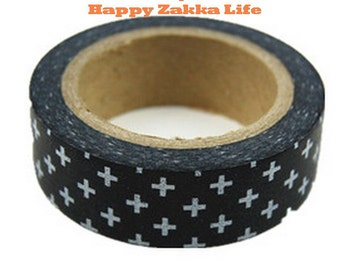 Japanese Washi Masking Tape - White Cross with Black - 11 yards