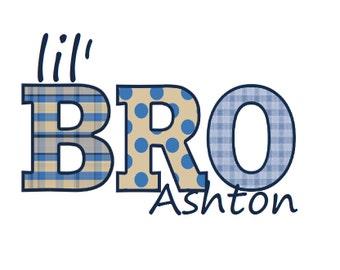 Custom Little Brother Iron on T Shirt Transfer - Little Bro - Navy Baby Blue Khaki