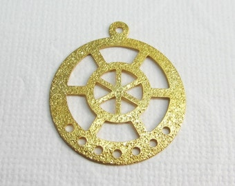 4 Pcs - Sand Blasted Gold Plated Connector,Pendant,Earring Findings,Links,Jewelry Findings (29x25MM) ZH037C