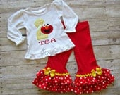 Girls Elmo Birthday Outfit - Sesame Outfit - Girls Birthday Outfit - 1st 2nd 3rd birthday