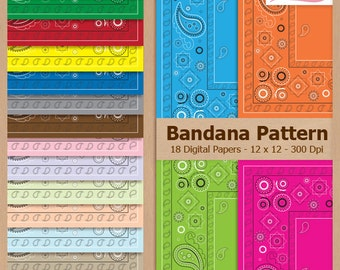 Digital Scrapbook Paper Pack - BANDANA PATTERN - Instant Download