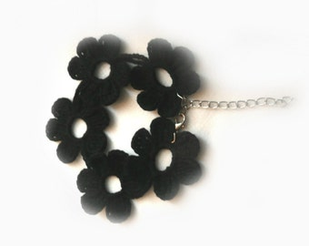 Black Crochet Bracelet, Crochet  Flower Bracelet, Jewelry, Eco Friendly, Girl, Woman