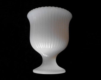 Vintage Milk Glass Ribbed Vase for Wedding Decor Centerpiece Candy Buffet or Home Decor