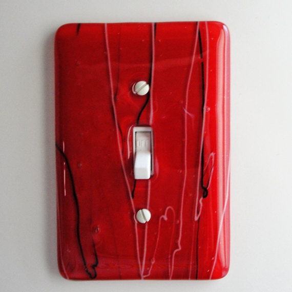 Fused Glass Light Switch Plate Red Home Decor Wall Art