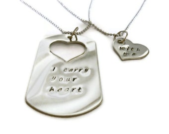 "SALE: ""I carry your heart"", ""with me"", his & hers dog tag and heart necklace  SET of Two by Moonstone Creations"
