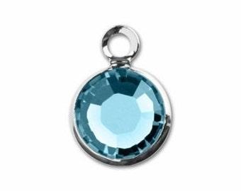 MARCH BIRTHSTONE Aquamarine - Swarovski Crystal Silver Plated Birthstone Channel Charms