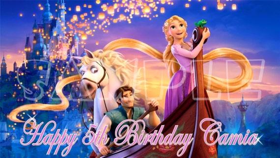 Disney's Tangled Personalized Custom Vibrant Artist Vinyl Birthday Banner Party Decoration