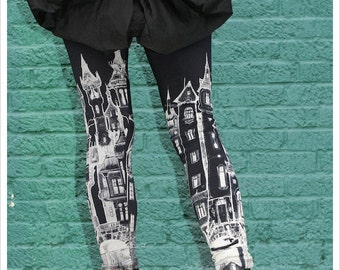 City Scape Leggings,  Womens legwear, printed tights, bottoms, pants, yoga leggings, carousel ink