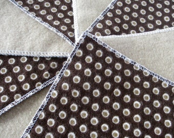 Diaper Wipes/Flannel Washcloths/ Cloth Diaper Wipes for Baby, Brown Circles (10)