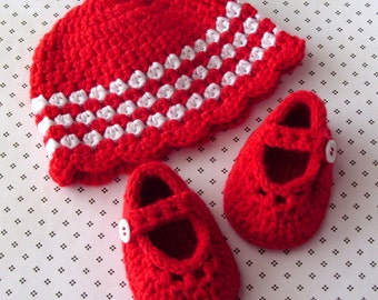 Red Baby Girl Hat, Crochet Baby Booties, Crochet Baby Shoes, Size 0 to 3 Months