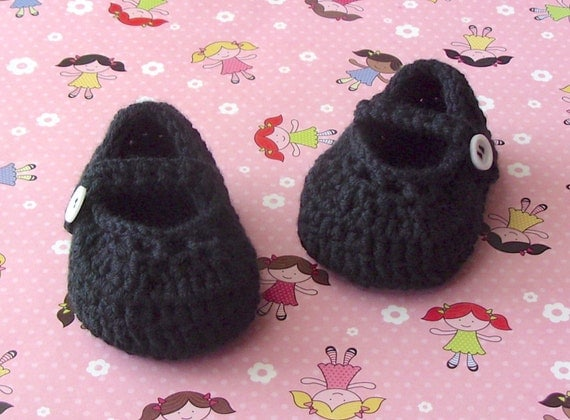 Crocheted Baby Girl Black Booties - Vintage Mary Jane Style Shoe - Infant 6 to 9 Months Size 3 - Gift Boxed