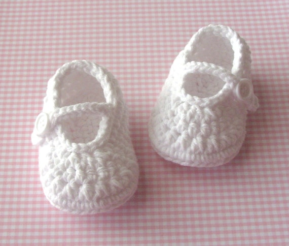Baby Girl Booties - White Mary Jane Shoes - 0 to 3 Months - Infant Size 1 Fashion Slippers - Gift Boxed