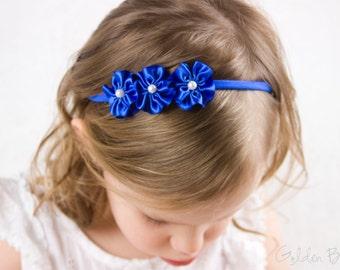 Royal Blue Flower Girl Headband - Flower Girl Headband - 3 Royal Blue and Pearl Flowers Handmade Headband - Infant to Adult Headband
