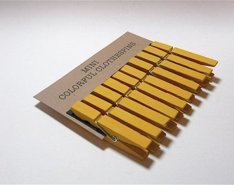 Mini Clothespins Yellow Marigold Set of Ten (10)